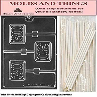 Number 30 Plain Lolly numbers and letters Chocolate candy mold With © Candy Making Instruction - set of 2 molds with 25 sticks
