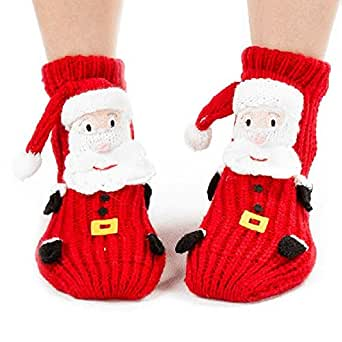 Amazon.com Sunjazz Kidsu0026#39; 3d Christmas Santa Knit Slipper Socks With Non-skid Soles Clothing