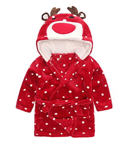 Taiycyxgan Little Girl's Coral Fleece Bathrobe Unisex Kids Robe Pajamas Sleepwear Red Christmas Deer 90