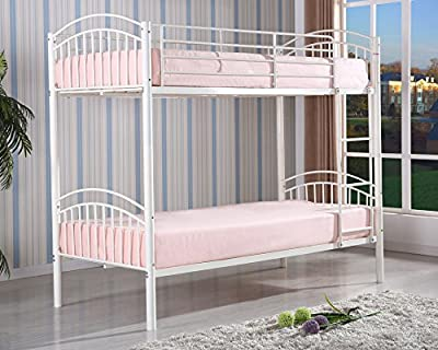 Yorkshire Kids Childrens Twin Single 3FT White Metal Bunk Bed Frame Only