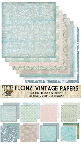 Paper-Pack-24sh-6x6-Frosty-Winter-Ice-Patterns-FLONZ-Vintage-Paper-for-Scrapbooking-and-Craft