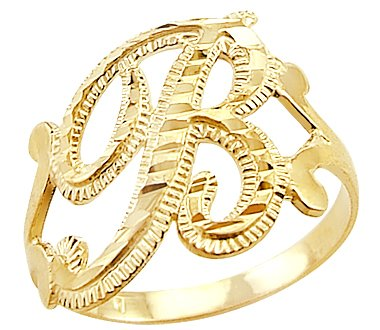 B Letter In Gold Ring Gold Initial Letter Ring