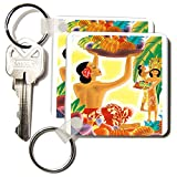 kc_181063 Florene - Vintage Travel Posters - Image of art deco hawaiian ladies with native fruits - Key Chains