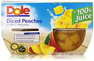 Dole Fruit Bowls, Diced Peaches (4 Count, 4 Oz Each)