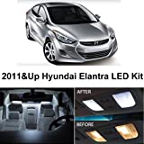 Hyundai Elantra 2011 & Up Xenon White Premium LED Interior Lights Package Kit (6 Pieces)