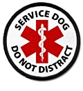 DO NOT DISTRACT SERVICE DOG Black Rim Medical Alert 2.5 inch Sew-on Patch