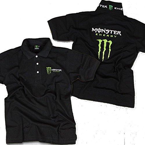 MONSTER モンスター バックロゴ×マーク刺繍半袖ポロシャツ M ブラック 【T309】