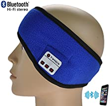 buy Xikezan Sweatproof Bluetooth Headband Wireless Hands-Free Sweat-Absorbent Sweatband With Built-In Stereo Speakers And Microphone For Sport & Calls (Blue)