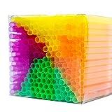 NEON STYLES - Strohhalme in vier intensiv bunten Neonfarben, 225 Stück in einer transparenten Box, leuchten unter Schwarzlicht noch intensiver und perfektionieren jedes Getränk an jeder Bar zu jedem Anlass