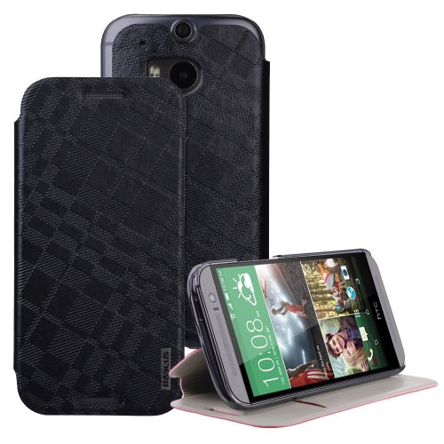 Moon Monkey Classical Check Slim Protective Cover Case For Htc One 2/M8 (Black)
