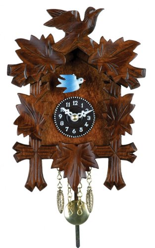 River City Clocks Quartz Novelty Clock – Five Leaves & One Bird with Moving Blue Bird – 7 Inches Tall – Model # 2130Q-07