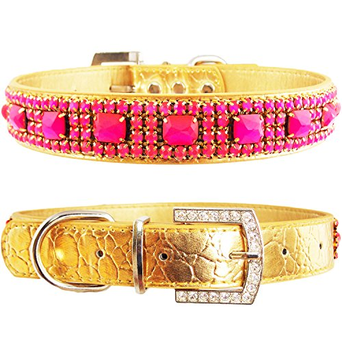 WwWSuppliers Crocodile PU Leather Bling Brilliant Sparkling Shine Flashy Rhinestones Adjustable Dog Puppy & Cat Luxury Cute Elegant Fashion Collar (Gold with Pink Gem Stones, Medium) (Bulldog Puppy Collar compare prices)