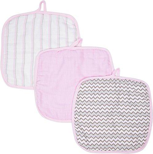 Miracle Blanket MiracleWare Muslin Washcloths, Pink, 3 Pack