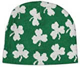 BeWild Brand St. Patrick s Day All-Over Shamrocks Winter Beanie (Green w White Shamrock)