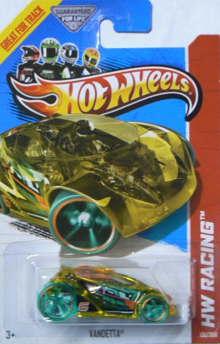 Hot Wheels 2013 X-Raycers Hw Racing Yellow Vandetta with Green Tires 131/250 - 1