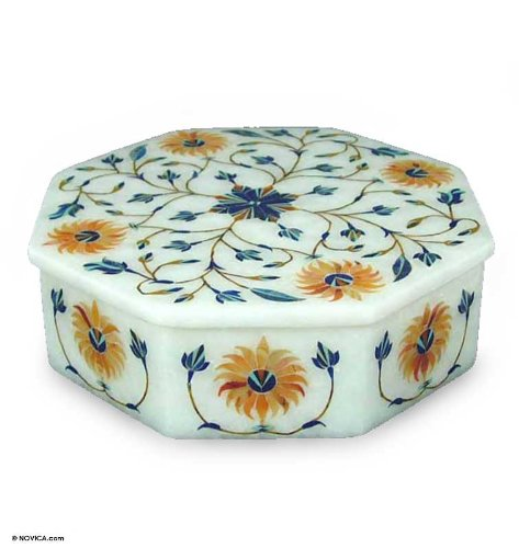"Marble inlay jewelry box, 'Sunflower Bouquet' 6.3"" W 6.3"" L"