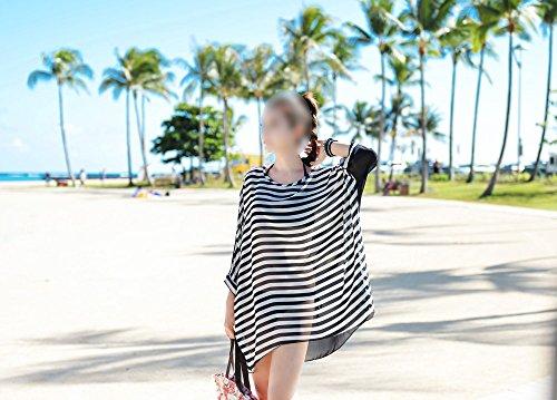 New Sexy Women Chiffon Dress Black White Stripes Beachwear Beach Bikini Oversized Swimwear Smock beach cover up Top Quality