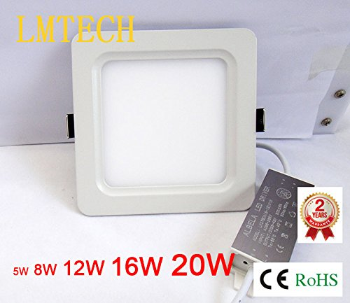 4Pcs 12W Square Ceiling Panel Led Recessed Lighting Trim Downlight (Warm White/White)
