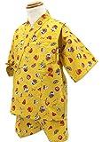 エビス柄 黄色 [90サイズ] KOMESICHI オリジナル子供甚平 綿100% 肌着 パジャマ 寝巻き