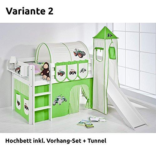 Hochbett Spielbett JELLE Trecker Grün Beige mit Turm, Rutsche und Vorhang, weiß, Variante 2 günstig