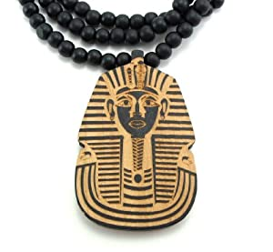 Large Wooden King Tut Pharaoh Pendant Bead Chain Necklace ALL GOOD WOOD STYLE! two-toned
