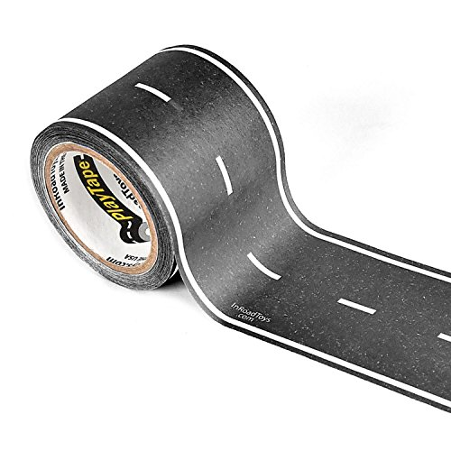 PlayTape Classic Road- Instantly Create your Own Roads Anytime, Anywhere - For All Kids Who Love Cars & Trains - Perfect for Birthday Gifts & Endless Fun (Black Road 30'x4