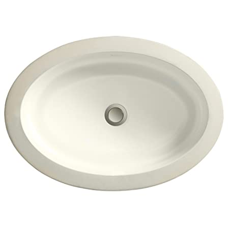 Porcher 12050-09.107 Marquee Medium Oval Under Counter Lavatory less Overflow, Matte Biscuit