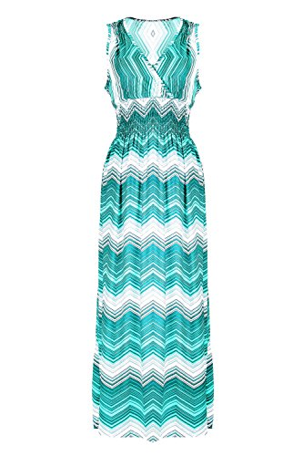 G2 Chic Women's Printed Tropical Multicolor Maxi Dress(DRS-MAX,GRN-S)