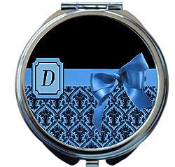 Rikki Knight Tm Letter D Blue Monogram Damask Bow Design Round Compact Mirror