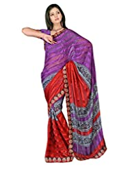 Sehgall Sarees Indian Bollywood Designer Professional Ethnic Alpheno Print With Lace Border Color Purple