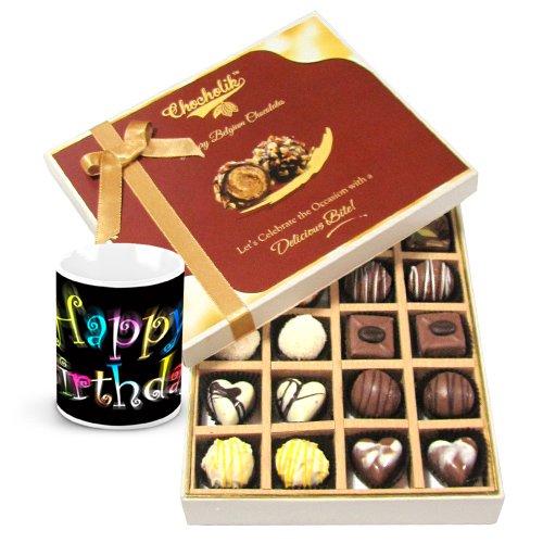 Chocholik Luxury Chocolates - Milk And White Collection Of Beautiful Chocolates With Birthday Mug