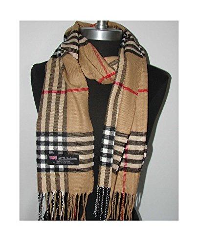 Camel_NEW 72″X12″ Scarf Plaid Fashion SCOTLAND SOLF WOOL – LA01 (US Seller)