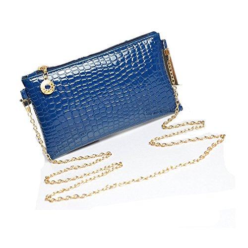 Borsa Familizo Elegant Donne rivestono di pelle Messenger Crossbody spalla della frizione della borsa (Blu)