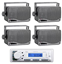 Pyle PLMR20W White Marine Am/fm Radio Player Usb Input with 4) Mini Box Speakers