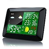 Brandson-Funkwetterstation-mit-Farbdisplay-inkl-Auensensor-Mondphasen-Anzeige-Innen-und-Auentemperatur-Wettervorhersage-Piktogramm-Tendenzanzeige-uvm