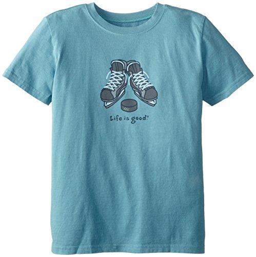 Life Is Good Boy'S Hockey Skates Easy Tee (Turquoise Blue), Medium front-557644