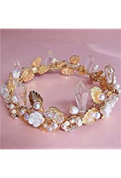 Wedding Bridal Crystal Rhinestone Pearl Gold Flower Crown Headband Tiara Jewelry
