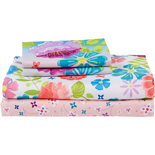 Disney Frozen 4pc Twin Comforter and Sheet Set Bedding Collection, Pink Floral 4pc botanical print bedding set