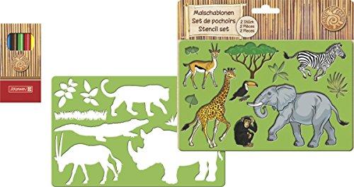 Baier & Schneider Zeichenschablone Malschablone FoE, Tiermotive, 195 x 125 mm, 3 mm, grün, 2 Malsc