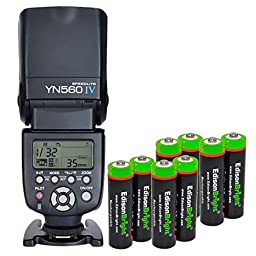 YONGNUO YN560 IV YN-560IV Wireless Flash Speedlite Master / Slave Flash with Built-in Trigger System with 8 X EdisonBright Ni-MH rechargeable AA batteries bundle for Canon Nikon Pentax Olympus Fujifilm Panasonic Digital Cameras