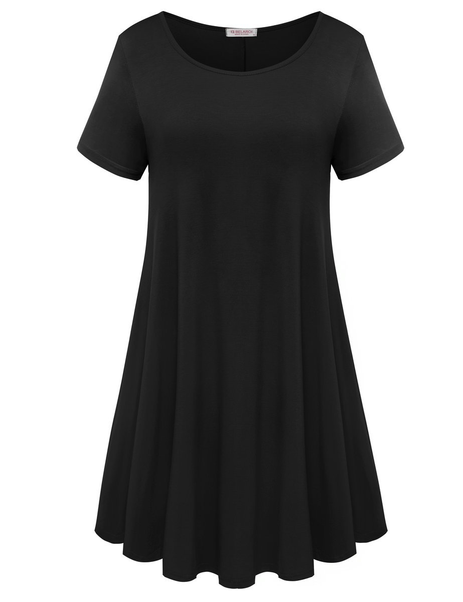 Solid Short Sleeve Tunic Swing T Shirt Dress