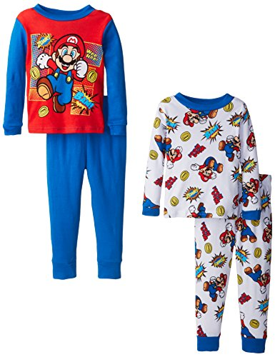 AME Sleepwear Little Boys' Mario Super Nintendo  Games Four-Piece Pajama Set