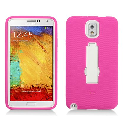 For Samsung Galaxy Note 3 (At&T/Sprint/T-Mobile) Layer Case, 3 In 1 W/Stand Hot Pink Skin+White Cover