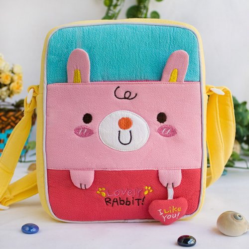 [Lovely Rabbit] Embroidered Applique Fabric Art Shoulder Bag / Swingpack / Travel Bag (8.1*6.5*2.4)