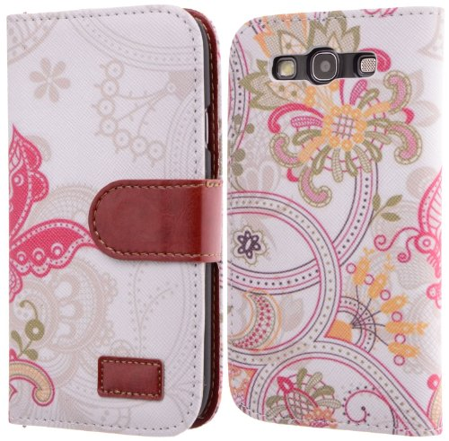 Wild Wolf Best Design with Coolest Premium Art Series Fashion style Type Magnet Design Stand Card Holder Colorful Wallet Folio Flip Cover Case for Samsung Galaxy S3/S III I9300 (GALAXY S3, B)
