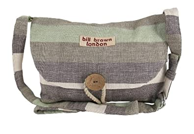 Stone Brown and Grey Striped Cotton Small Shoulder Bag by Bill Brown