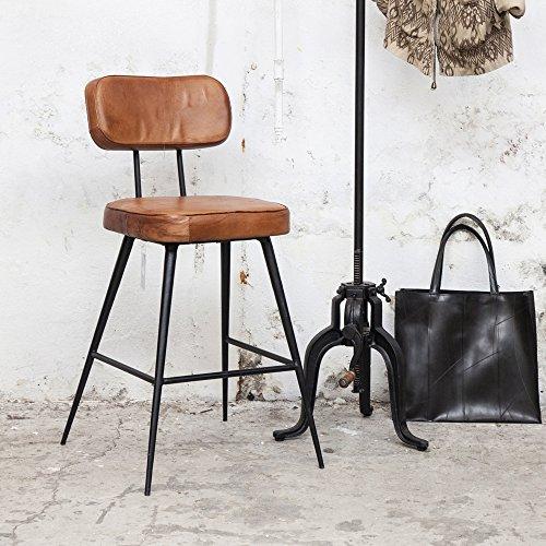Vintage-Barhocker-Bar-Hocker-Stuhl-gepolstert-SH-63-cm-Barstuhl-Leder-Metall