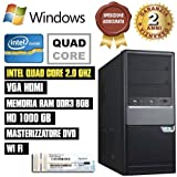 PC DESKTOP INTEL QUAD CORE RAM 8GB HD1TB DVD/WIFI/HDMI FISSO COMPLETO ASSEMBLA...