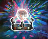 Lightahead® LED PEAK DUE Mirror Disco ball Rotating with 2 adjustable LED Light projector Lamps for Stage Disco party club bar DJ