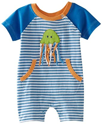 my O baby Baby-Boys Infant Striped Romper, Blue/White, 3 Months